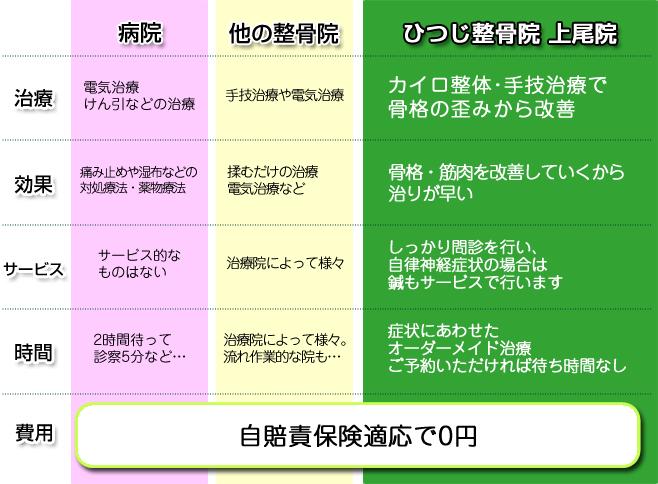 病院、他の整骨院と、ひつじ整骨院 上尾院との違いを説明。
